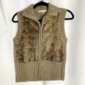 Cabi faux fur zip front vest brown XS